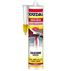 Sigillante siliconico per giunti moncomponente neutro elastico - SOUDAL - Silicone edilizia - Bianco - 300 ml - 121505