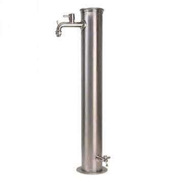 Fontanella in acciaio inox H. 85 x L. 16 x P. 30 cm - BEL FER 42/ARRI Doppio rubinetto - Inox AISI 316