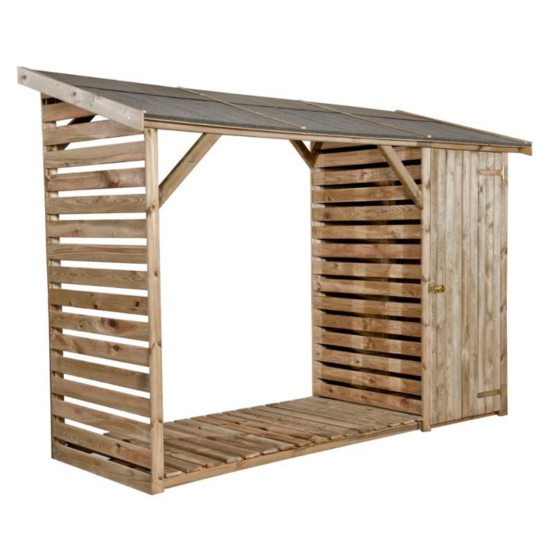 Legnaia da giardino in legno con ripostiglio 280 x 100 x h - Ripostiglio in legno da giardino ...