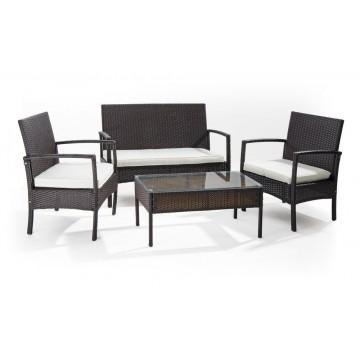 Salotto da giardino Set Linosa 2 poltrone tavolo con vetro temprato divano 2 posti