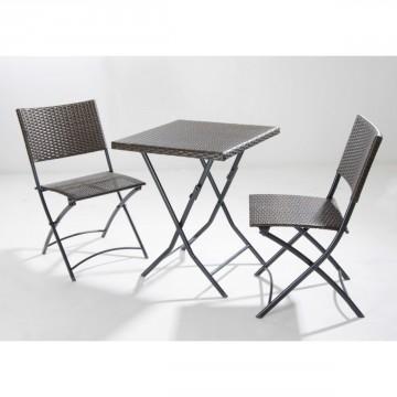 Salotto da giardino Set Keros 2 sedie tavolino quadrato VERDELOOK 750/3