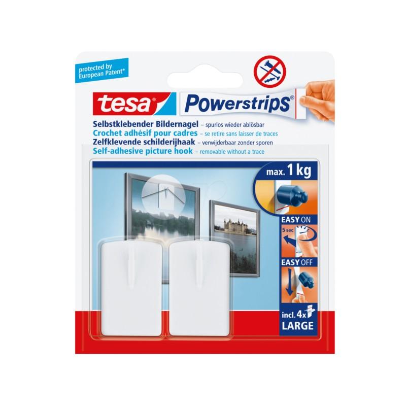 ganci per quadri rimovibili e riutilizzabili max 1 kg tesa powerstrips 58031. Black Bedroom Furniture Sets. Home Design Ideas
