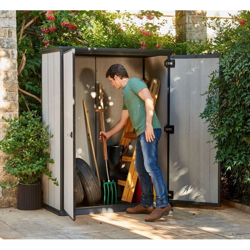 Armadio portattrezzi in resina 139 5x77x181 5 cm - L armadio in giardino ...