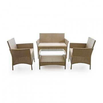 Salotto da giardino Set Caprera 2 poltrone 1 tavolo con vetro temprato divano 2 posti VERDELOOK