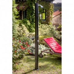 Doccia solare rotonda smontabile in PVC nero 20 Litri - con miscelatore - GRE AR1020P