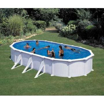 """Piscina ovale fuori terra GRE """"ATLANTIS"""" dimensioni 500x300 h 132cm - completa di filtro, scaletta e tappeto - KITPROV508"""