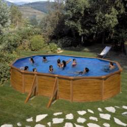 """Piscina ovale effetto legno GRE """"PACIFIC"""" - completa di filtro e scaletta - dimensioni 610x375 h 120cm - GRE KIT610W"""