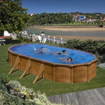 """Piscina ovale effetto legno GRE """"PACIFIC"""" - completa di filtro e scaletta - dimensioni 730x375 h 120cm - GRE KIT730W"""