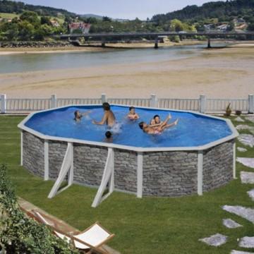 """Piscina ovale decorazione pietra GRE """"CERDENA"""" - completa di filtro e scaletta - dimensioni 610x375 h 120cm - GRE KIT610PO"""
