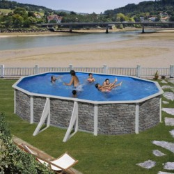 """Piscina ovale decorazione pietra GRE """"CERDENA"""" - completa di filtro e scaletta - dimensioni 730x375 h 120cm - GRE KIT730PO"""