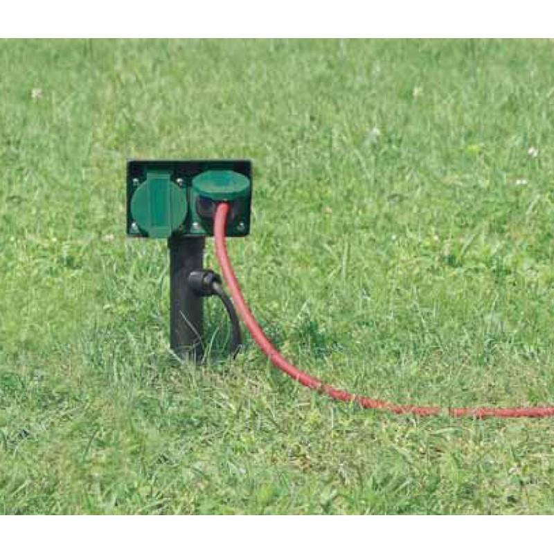 Presa per giardino 4 attacchi con coperchio cavo da 10 - Prese elettriche da esterno ...