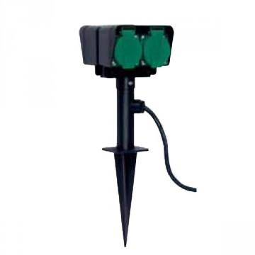 Presa per giardino 4 attacchi con coperchio cavo da 10 metri e supporto per fissaggio a terra - IP 44 - BRENNENSTUHL 1154600