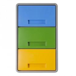 """Contenitore """"Polymax"""" 40lt per differenziata - tre scomparti separati - grigio con tre coperchi colorati - MATTIUSSI A12014"""