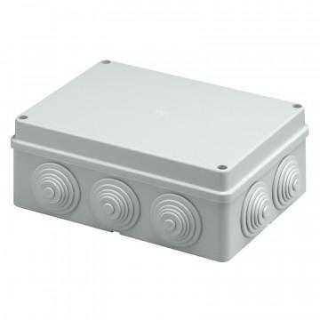 Scatola da parete per derivazione con passacavi - coperchio a vite - 240x190x90 mm, colore grigio RAL 7035 - ROSI RS13407