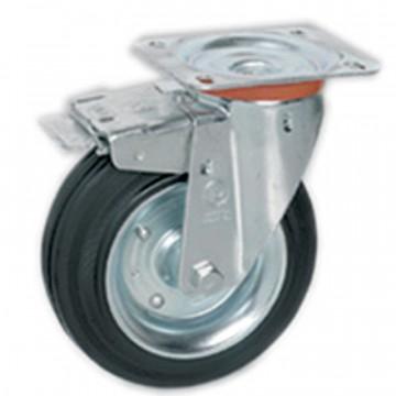 Ruota in gomma standard girevole con freno, nucleo composto da due dischi in lamiera - 100x30 - TELLURE ROTA 535402