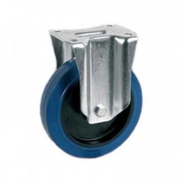Ruota fissa in gomma elastica blu antitraccia con nucleo in poliammide 6 - 125x36 - TELLURE ROTA 735103AE