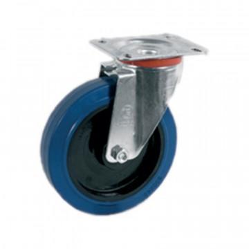 Ruota girevole in gomma elastica blu antitraccia con nucleo in poliammide 6 - 125x36 - TELLURE ROTA 735003AE