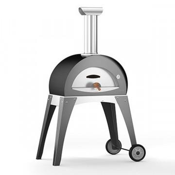"""Forno a Legna """"CIAO S"""" in Acciaio Inox ALFA REFRATTARI - Colore grigio - 3 pizze in 15 minuti - ALFA PIZZA"""