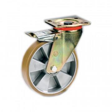"""Ruota in poliuretano """"TR"""" girevole con freno e nucleo in alluminio - 100x30 - TELLURE ROTA 656602"""