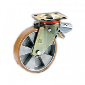 """Ruota in poliuretano """"TR"""" girevole con freno registrabile, nucleo in alluminio - 150x40 - TELLURE ROTA 656604"""