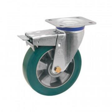 """Ruota in poliuretano """"TR Roll"""" girevole con freno, nucleo in alluminio - 160x50 - TELLURE ROTA 627404"""