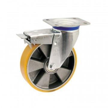 """Ruota in poliuretano """"TR"""" girevole con freno, nucleo in alluminio - 200x50 - TELLURE ROTA 659706"""