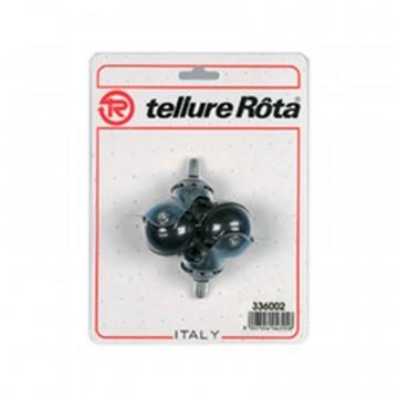 Ruote mobilio sferiche in gomma con supporto rotante codolo - diametro 40 - Blister 4 pezzi - TELLURE ROTA 336002