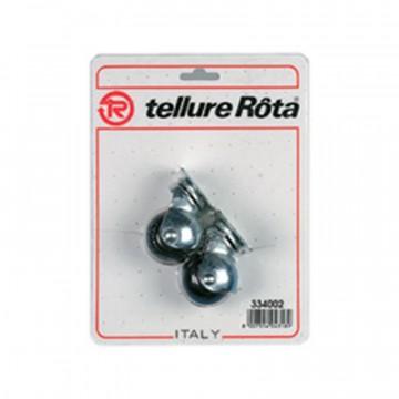 Ruote mobilio sferiche in gomma con supporto rotante piastra - diametro 30 - Blister 4 pezzi - TELLURE ROTA 334002