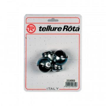 Ruote mobilio sferiche in gomma con supporto rotante foro passante - diametro 50 - Blister 4 pezzi - TELLURE ROTA 333003