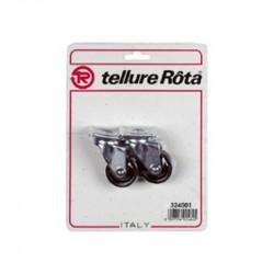 Ruote in poliammide 6 con supporto rotante piastra - 40x17 - Blister 4 pezzi - TELLURE ROTA 324001