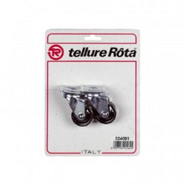 Ruote in poliammide 6 con supporto rotante piastra - 60x22 - Blister 4 pezzi - TELLURE ROTA 324003
