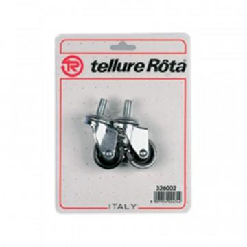 Ruote in poliammide 6 con supporto rotante codolo - 60x22 - Blister 4 pezzi - TELLURE ROTA 326003