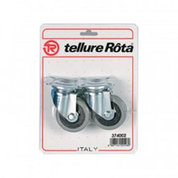 Ruote in gomma, nucleo in poliammide con parafili, supporto rotante piastra - 50x20 - Blister 4 pezzi - TELLURE ROTA 374001