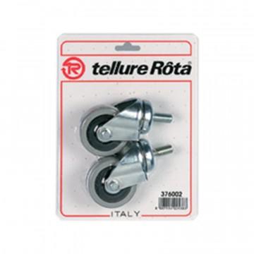 Ruote in gomma, nucleo in poliammide con parafili, supporto rotante codolo - 60x24 - Blister 4 pezzi - TELLURE ROTA 376002