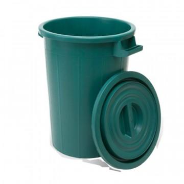 Bidone per rifiuti verde con coperchio - lt. 75 - I.C.S. P480075V + P480076V