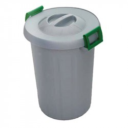 "Cestino per rifiuti ""Okey"" - cm 40x48 lt. 25 - grigio maniglie verdi - I.C.S. C565025"
