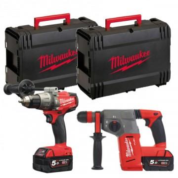 KIT 18V M18 FSET2B-502X - Trapano percussione + tassellatore - 2 batterie e valigetta incluse - MILWAUKEE 4933459034