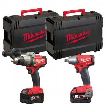 KIT 18V M18 FPP2G-502X - Trapano percussione + avvitatore impulsi - 2 batterie e valigetta incluse - MILWAUKEE 4933459035