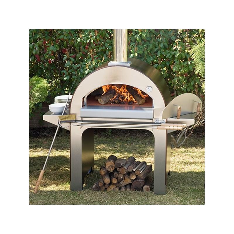 Forno a legna 4 pizze in acciaio inox rosso antico alfa - Forno a legna in casa ...
