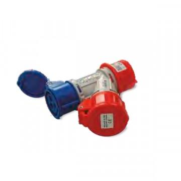 Adattatore industriale doppio, da Spina 3P+N+T 16A 380V a 1 Presa 3P+T 16A 380V e 1 Presa 2P+T 16A 220V - FANTON 73112
