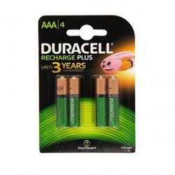 Confezione da 4 pile ricaricabili HR03/DC2400 Duracell Recharge Plus AAA
