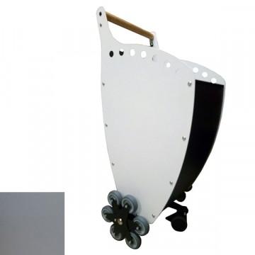 Trolley porta Legna/Pellet Superleggero con Pannelli colore ANTRACITE/SILVER + KIT 6 RUOTE per scale - PANDA