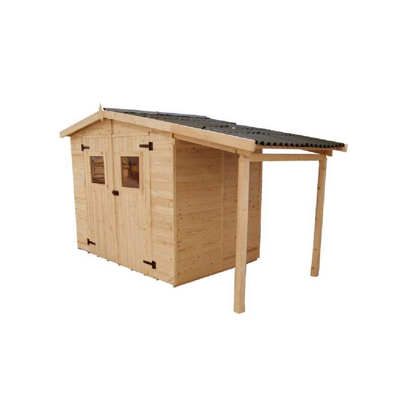 Casetta da giardino in legno con legnaia 336x160x210 h for Leroy merlin cremona