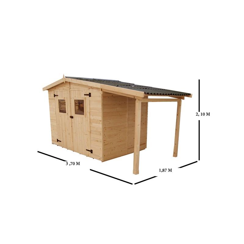 Casetta da giardino in legno con legnaia 336x160x210 h - Casette di legno da giardino ikea ...