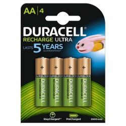 Confezione da 4 pile ricaricabili HR6/2500 MAH Duracell Recharge Ultra AA