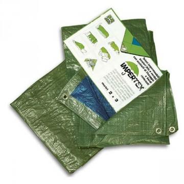 Telo impermeabile occhiellato verde in nylon - 6 x 10 metri - 80 g. al m²