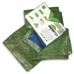 Telo impermeabile occhiellato verde in nylon - 3 x 4 metri - 80 g. al m²