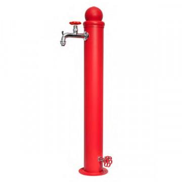 Fontanella in ferro H. 95 x L. 16 x P. 30 cm - BEL FER 42/ID Doppio Rubinetto - Rosso