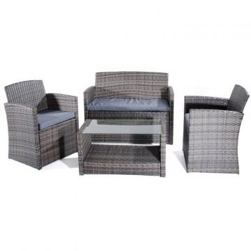 Salotto da giardino Set Lipari 2 poltrone tavolo con vetro temperato divano 2 posti VERDELOOK