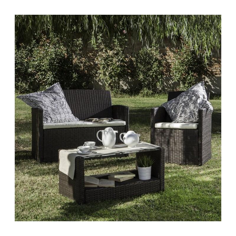Salotto da giardino set lipari 2 poltrone tavolo divano for Poltrone giardino